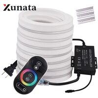 RGB Neon Light Ribbon Tape Flexible LED Neon Sign Night Light Lamp 2835 5050 120LEDs/m LED Strip Remote 24Key 110V 220V|LED Strips|   -