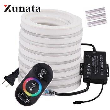 RGB luz de neón cinta Flexible LED señal de neón lámpara de luz nocturna 2835 5050 120 LEDs/m LED tira remota 24Key 110V 220V