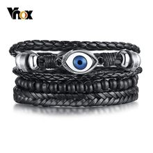 Vnox 3 pcs/ Set Evil Blue Eyes Bracelets for Men Multi Layered Leather Bangle Wood Beads(China)