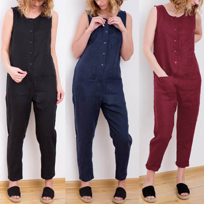 Celmia 2019 NEW Women Overalls Casual Solid Sleeveless Cotton Linen Jumpsuits Long Trousers Playsuits Pockets Plus Size Romper