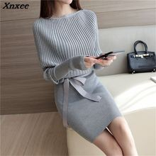 2018 Spring and Autumn New Women Korean ladies loose sweater  Stretch Skirt Xnxee