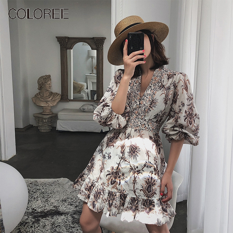 2019 vacances plage robe femmes Vintage col en v lanterne manches imprimé Floral décontracté Boho robe d'été Vestidos