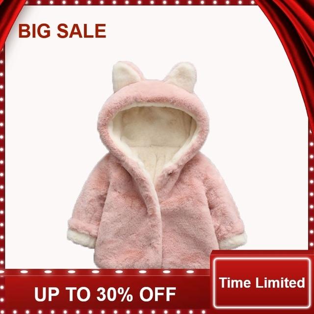 87e7bedd4fd23 Bébé fille vestes hiver filles fausse fourrure manteau mignon oreille à  capuche infantile enfants pardessus enfants