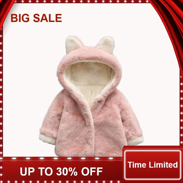 7e3138345 US $6.95 13% OFF|Baby Girl Jackets Winter Girls Faux Fur Coat Cute Ear  Hooded Infant Kids Overcoat Children Warm Outerwear-in Jackets & Coats from  ...