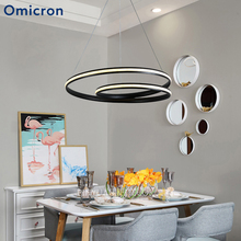 Omicron Metal Led Pendant Lights Modern Round White Black Hanging Lamps For Living Room Bedroom Foyer Home Hotel Decor