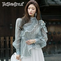 TWOTWINSTYLE Off Shoulder Striped Tops Female Stand Collar Long Sleeve Patchwork Ruffle Shirts Blouse Women 2019 Spring Fashion