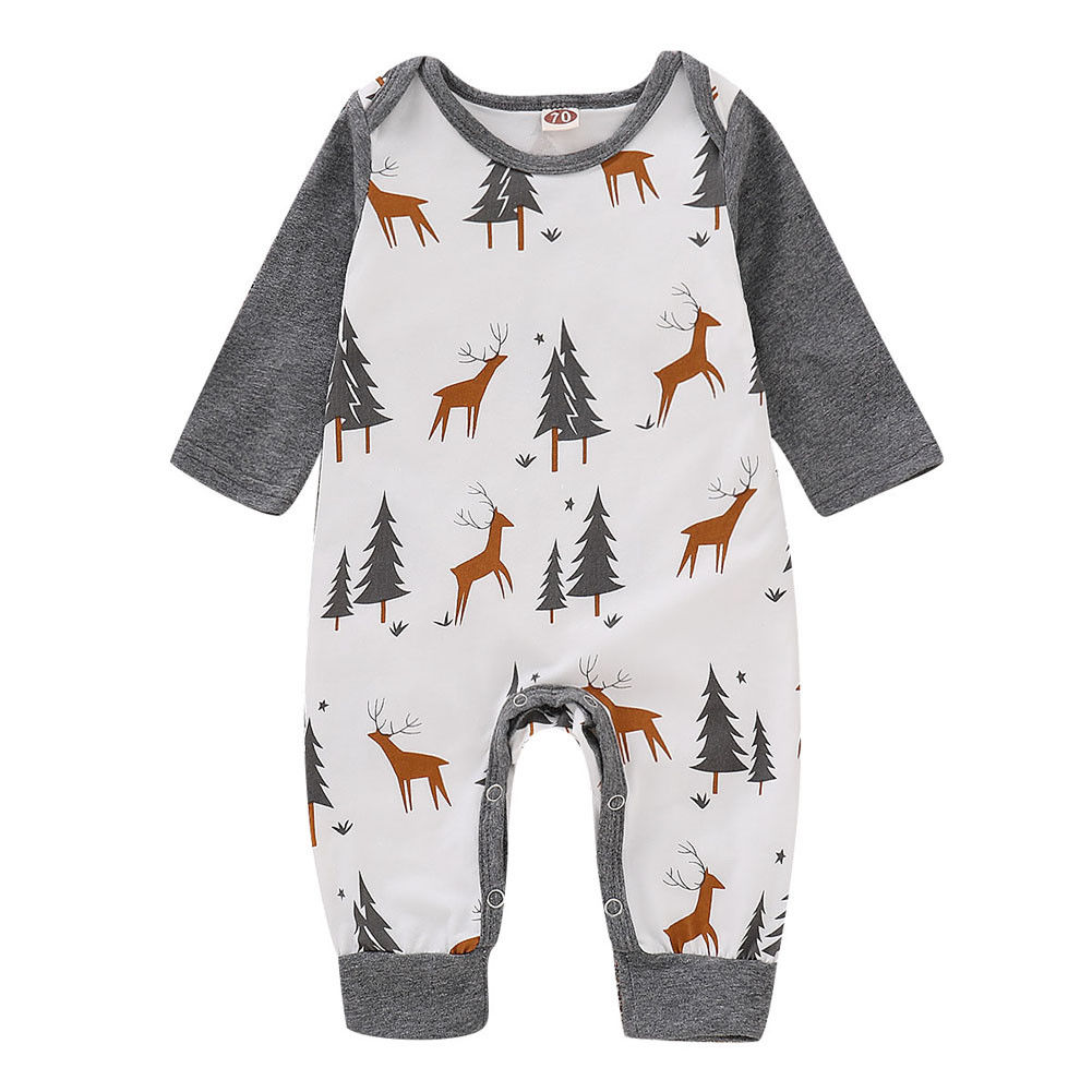 Newborn Baby Christmas Rompers Infant Boys Girls Deer Print Long Sleeve Jumpsuits Cute Cotton Toddler Clothes Outfits