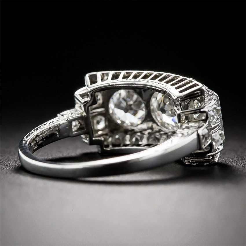 Anello di Diamante Bianco Topa Nastro S925 Sterling Bague Bizuteria per Le Donne Anillos De Gioielli Ametista 2 Carati Anello per delle Donne