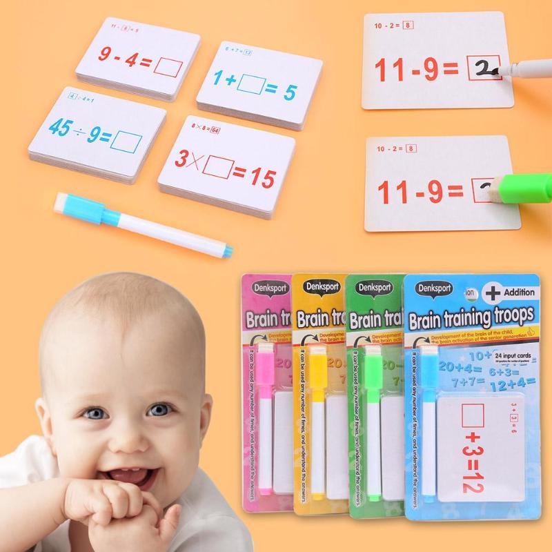 1 Set Wiederverwendbare Mathematik Karte Lehre Resouce Mit Löschbaren Stift Kinder Educational Math Berechnen Spielzeug Kinder Schreibwaren Geschenke Moderate Kosten
