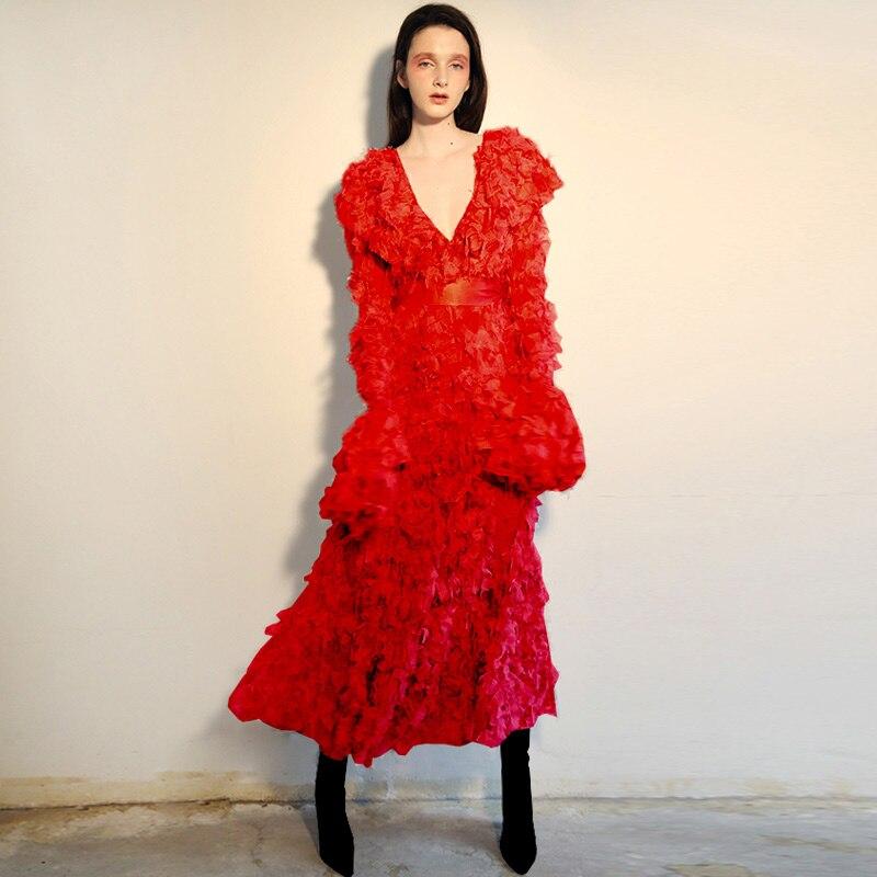 Spéciales Pour Solide À Volants rose rouge Cou Ceinture De Mode Brut Rose Longues Vêtements Jetant Femmes Rouge V Élégante Occasions Robe Des Manches nrqqC8P