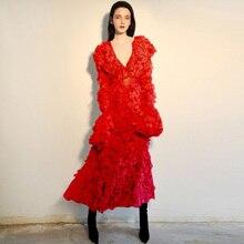 ee9469465 الصلبة الأحمر/الوردي الإنتفاض الخام كشكش أنيقة اللباس للمناسبات الخاصة  الأزياء ملابس حريمي v الرقبة