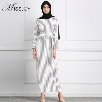 7e88f866f0 MISSJOY vestido Dubai abierto Abaya musulmán vestidos de fiesta vestido de  rayas de algodón turco árabe islámico las mujeres traje de ropa Casual