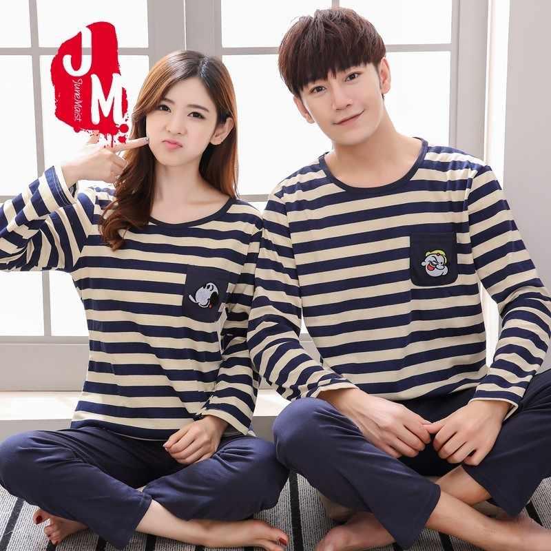 7d4bb2995606 Autumn Winter Wome Pyjamas Cotton Pj Pajamas Set Couples Cartoon Sleepwear  Pajamas For Men Couples Pijama