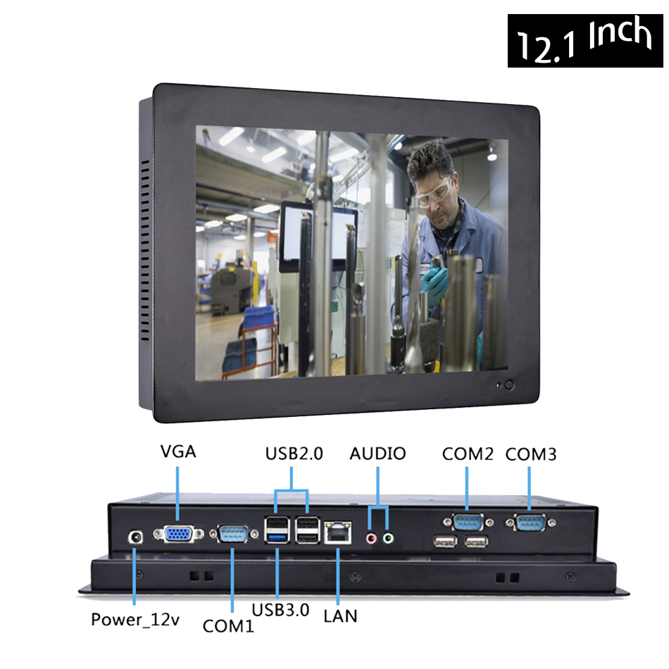 12.1 Inch Industrial Touch Panel PC,4 Wires Resistive Touch Screen,All In One Computer,Wins 7/10,Linux,Intel J1800,[HUNSN DA12W]
