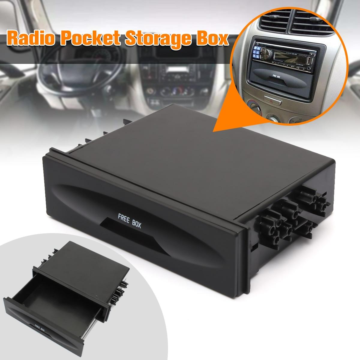 Auto leader Universal caja de almacenamiento de coche CX-38 Auto solo Din Dash Radio instalación bolsillo Kit de plástico negro de alta calidad