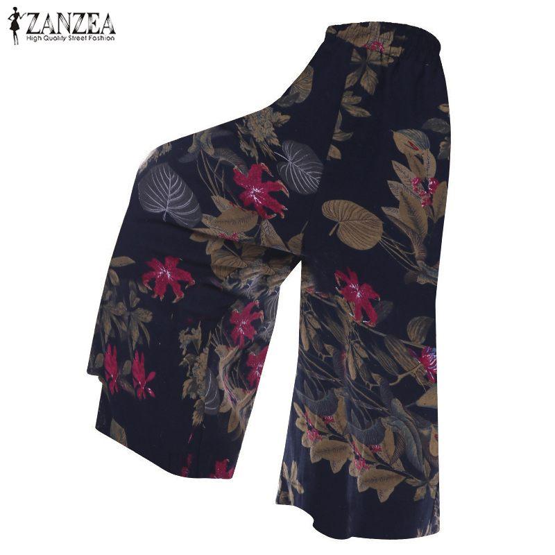 ZANZEA Vintage Print   Wide     Leg     Pants   Women Plus Size Pantalon Female Casual Mid Waist Trousers Autumn Party Palazzo   Pants   Femme
