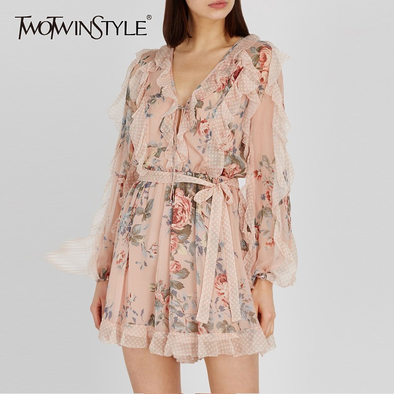 TWOTWINSTYLE Vintage Print   Jumpsuit   Women V Neck High Waist Ruffles Lace Up Long Sleeve Female   Jumpsuits   2019 Summer Fashion New