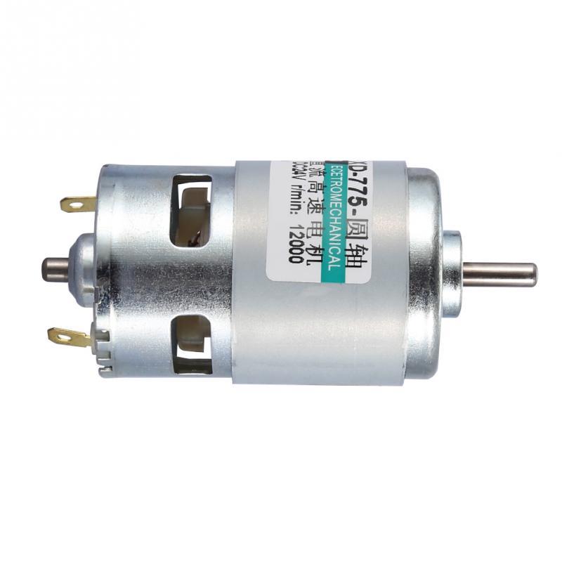 775 Dc Ball Bearing Round Shaft High Speed 30w High Power Torque Low Noise Motor