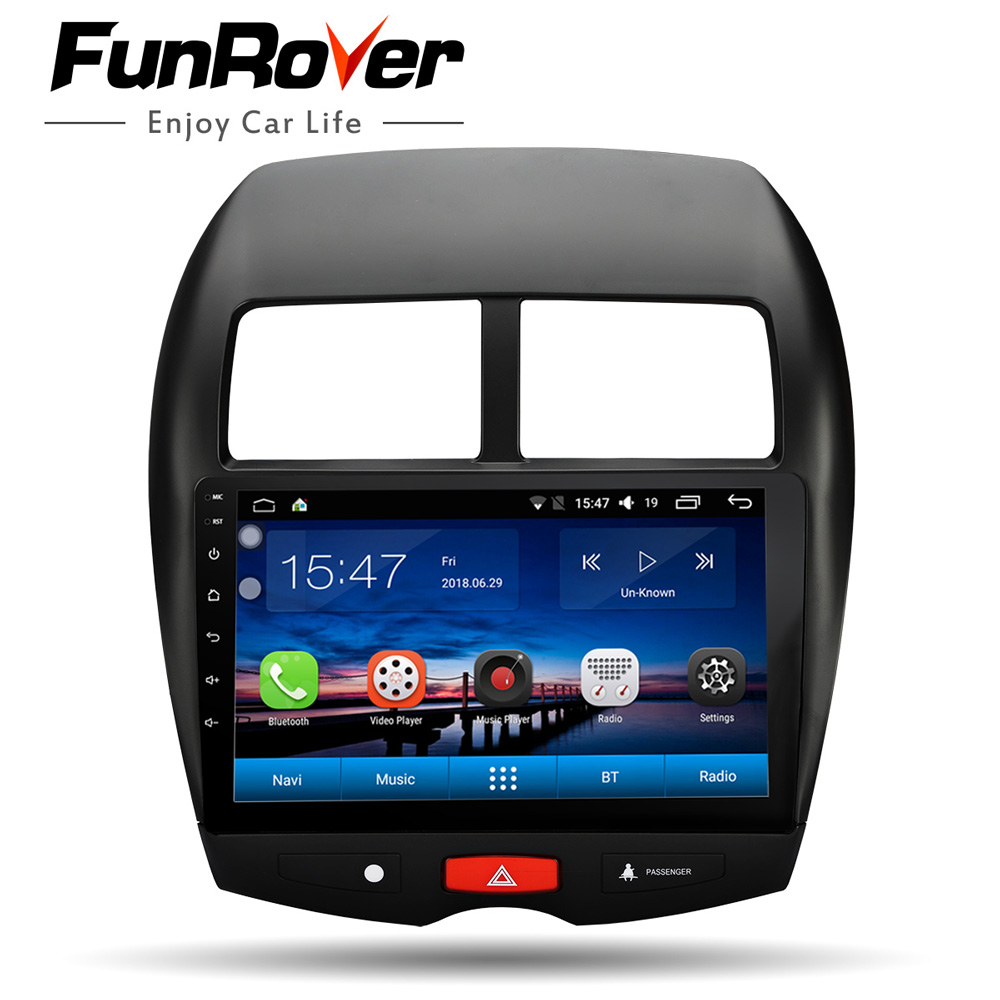 Funrover Car Radio Multimedia Player 10.1 Android8.0 2 din dvd GPS For Mitsubishi ASX 2010-2017 Navigation headunit Stereo USB