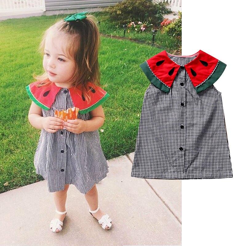 Hohe Bewertung Sommer Baby Mädchen Taste Kleid Prinzessin Wassermelone Revers Kragen Kinder Kleid Kleidung Ärmelloses Kleinkind Nettes Sommerkleid