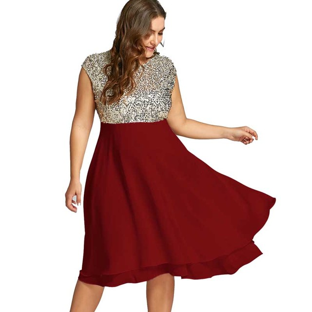 0fc22061bb3 Wipalo Women Plus Size 5XL Flounce Sequin Sparkly Party Dress Female  Vintage Short Sleeves Knee-Length Party Ball Gown Vestidos