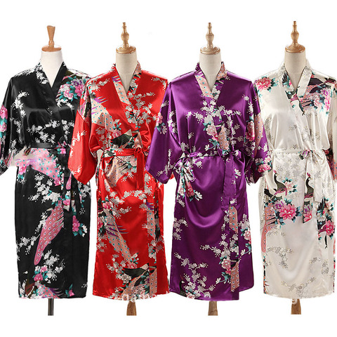 Woman Loose Style Pajamas Home Sleep Wear Lace Up Peacock Print V-neck Night Gown Japanese Kimono Yukata Bathing Robe Pakistan