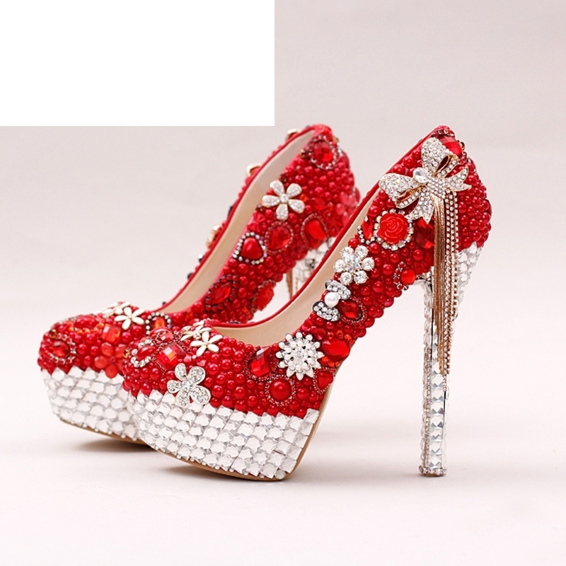Red Color Gorgeous Pearl Bridal Shoes Rhinestone Bow Tassel Wedding Dress Shoes Women Party Prom High Heels Lady Valentine Pumps 8 200mm garden scissors elbow blade fruiting branches garden gardening scissors hand tools rasp dremel 2016
