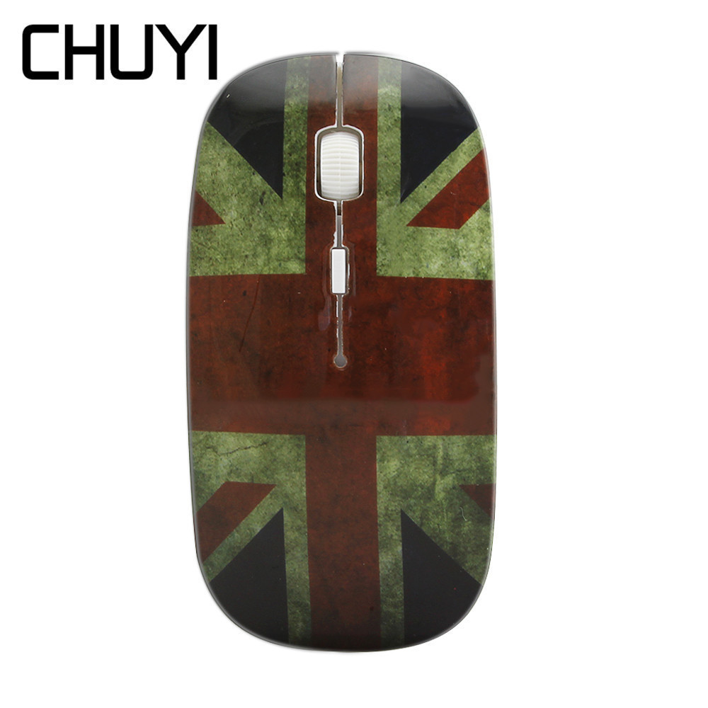 CHUYI Cool British Flag Design 2.4Ghz Wireless Mouse USB 1600DPI Optical Ultra Thin Mice Slim Computer Mause For PC Girl Laptop