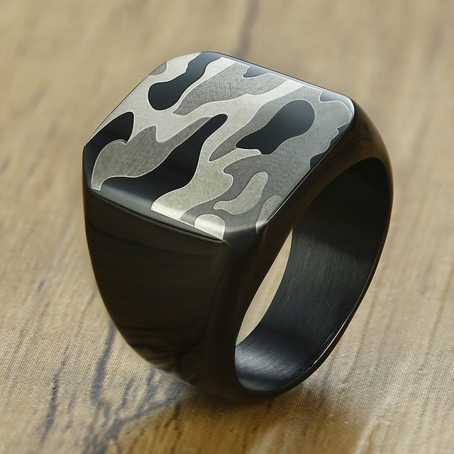 Men Camouflage Signet Ring Stainless Steel Pinky Band The Extreme