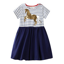 Dress Girl Summer 2019 Striped Horse Design Cotton Kids Dresses first communion Dresses for Girls Clothes Size 6 Years Vestido 2