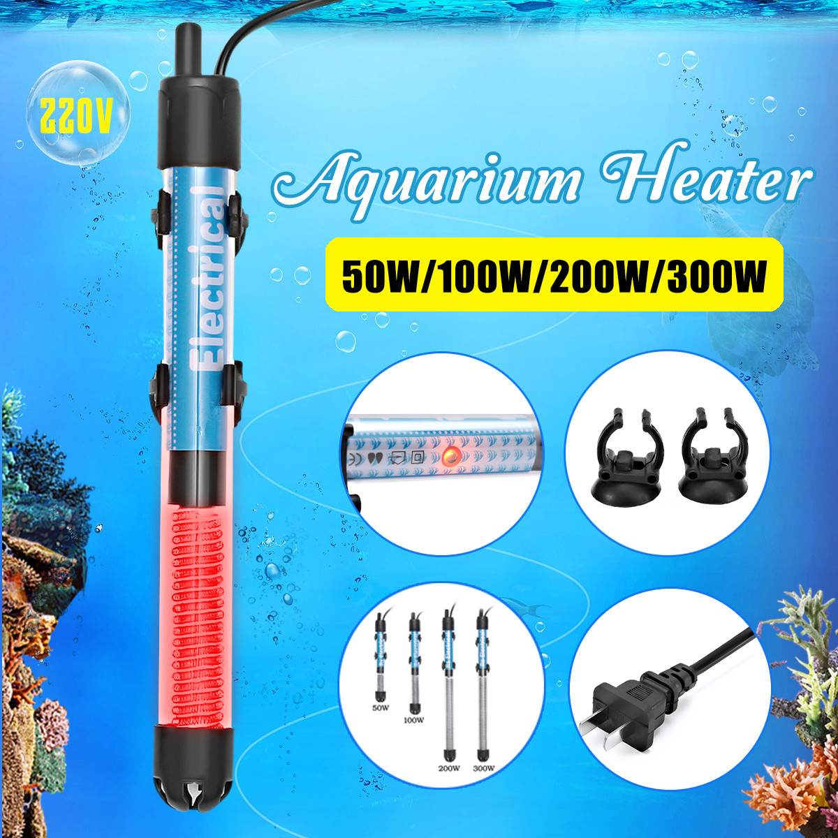 220V 50W/100W/200W/300W Mini Submersible Aquarium Heater Adjustable Temperature Aquarium Fish Tank Water Heater