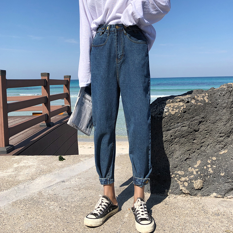 Make web celebrity straight wide-legged jeans turnip pants new female qiu tall waist torre pants loose nine points