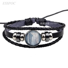Anime Attack on Titan Survey Corps Black Leather Bracelet Levi Ackerman Eren Cosplay Lover Gift(China)