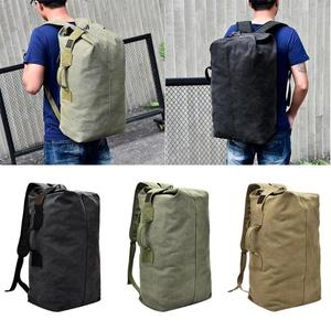 Image 2 - Military Tactical Canvas Backpack Men Male Big Durable Army Bucket Bag Outdoor Sports Duffle Shoulder Bag Casual Travel Rucksack