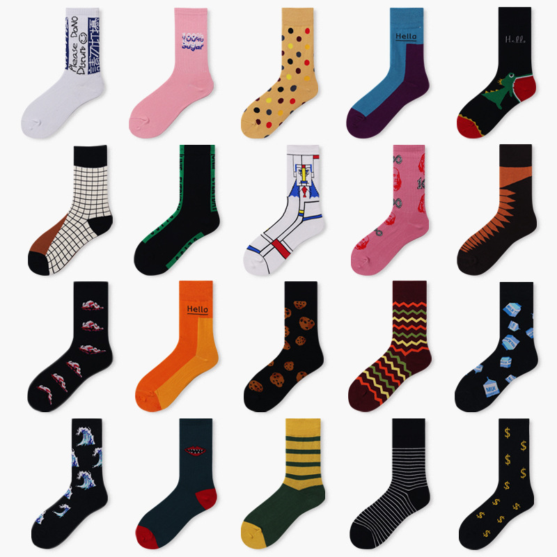 PEONFLY Harajuku Men Socks Funny Colorful Cartoon Dot Striped Sokken Casual Japanese Style Street Skateboard Calcetines Hombre
