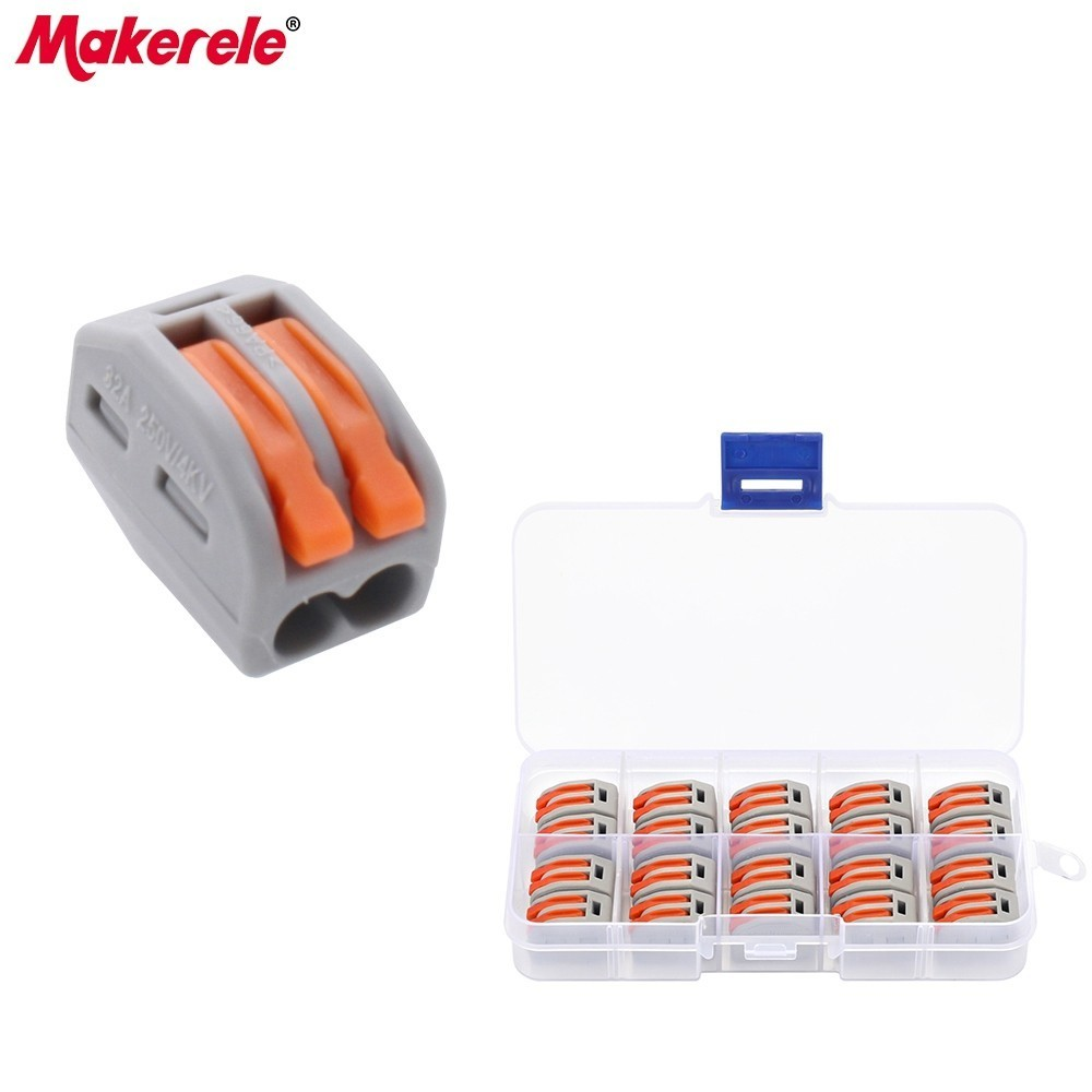 wago 20pcs Universal Compact Fast Wire Wiring Connector 2 Pin mini wire connector Conductors Terminal Block