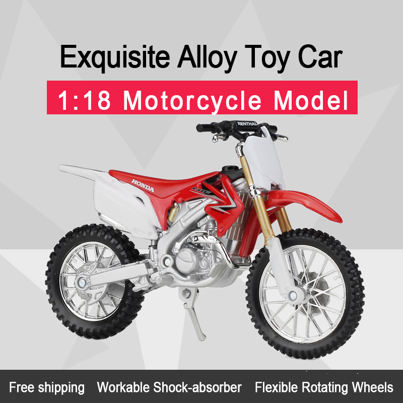 MAISTO 1:18 HON&DA CRF 450R Alloy Diecast Motorcycle Model Workable Shork-Absorber Toy For Children Gifts Toy Collection