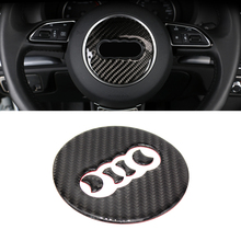 For Audi Q5 A4 A3 A6 Q3 Q7 Interior Carbon Fiber Steering Wheel Panel Cover Trim Sticker