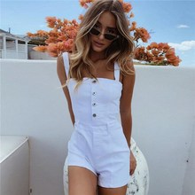 Women Fashion Casual Playsuit Single Breasted Spaghetti Straps Rompers Overalls Ladies Off Shoulder Bodycon Jumpsuits