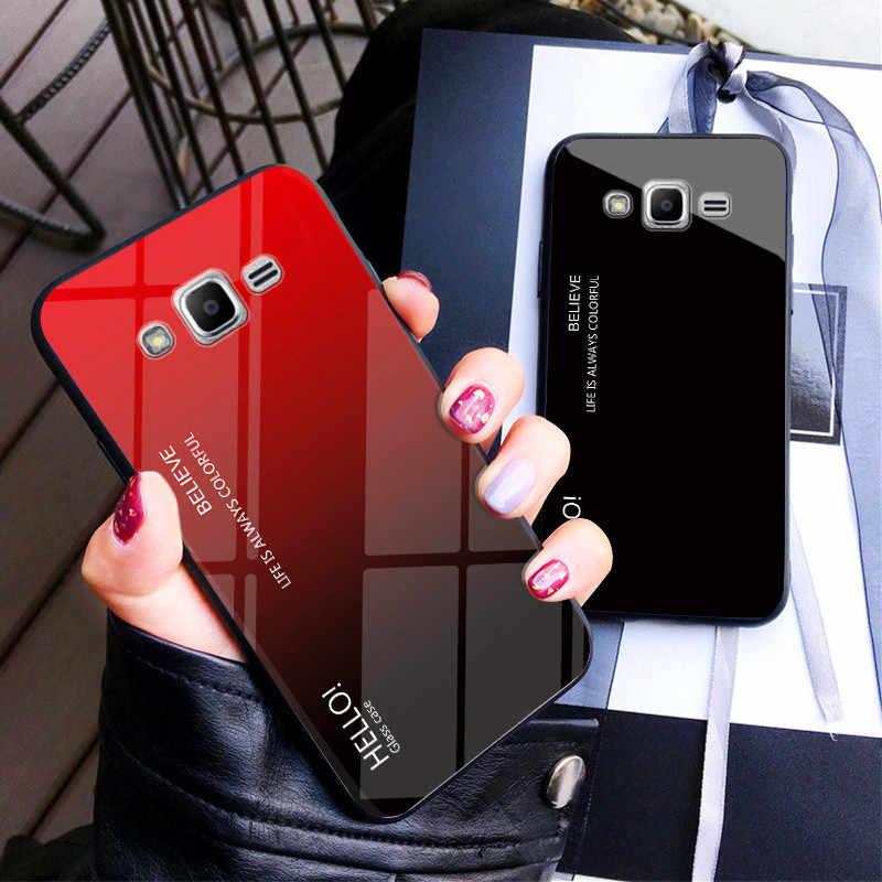 Coque de protection arrière en verre trempé pour Samsung, compatible modèles Galaxy J5, J2, J7 2015, J200, J500, J700, J700F, couleurs dégradées