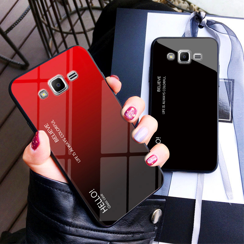 For Samsung J5 J2 J7 2015 Case Gradient Aurora Tempered Glass Back Cover Case For Galaxy J200 J500 J700 J700F Colored Coque Capa image