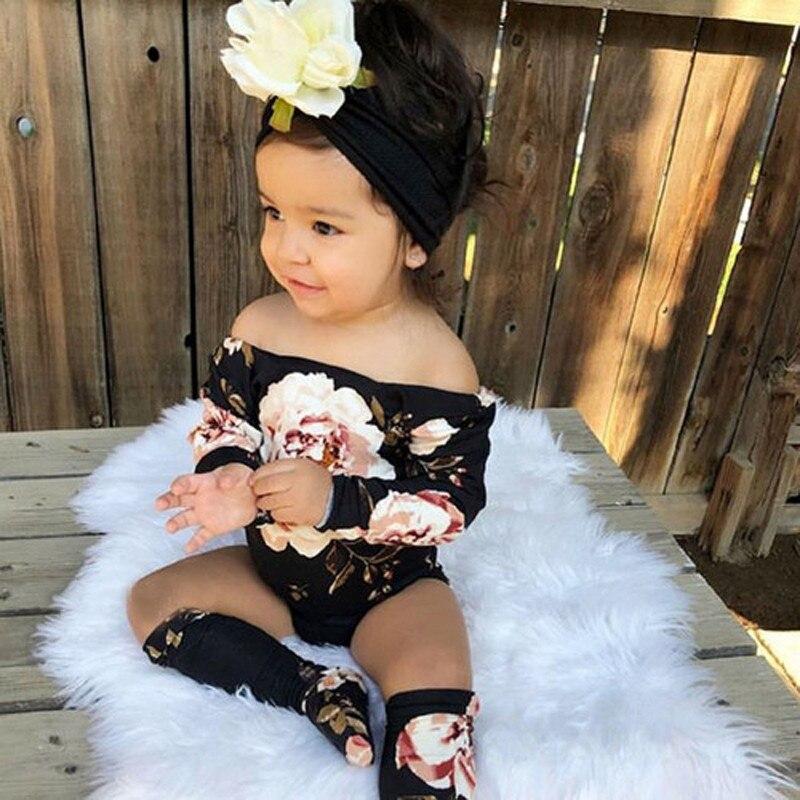 0-18 Monate Newborn Nette Baby Mädchen Kleidung Set Tops Schwarz Floral Print Babyspielanzug Nette Baby Socken Kinder Bodys Baby Set Den Menschen In Ihrem TäGlichen Leben Mehr Komfort Bringen