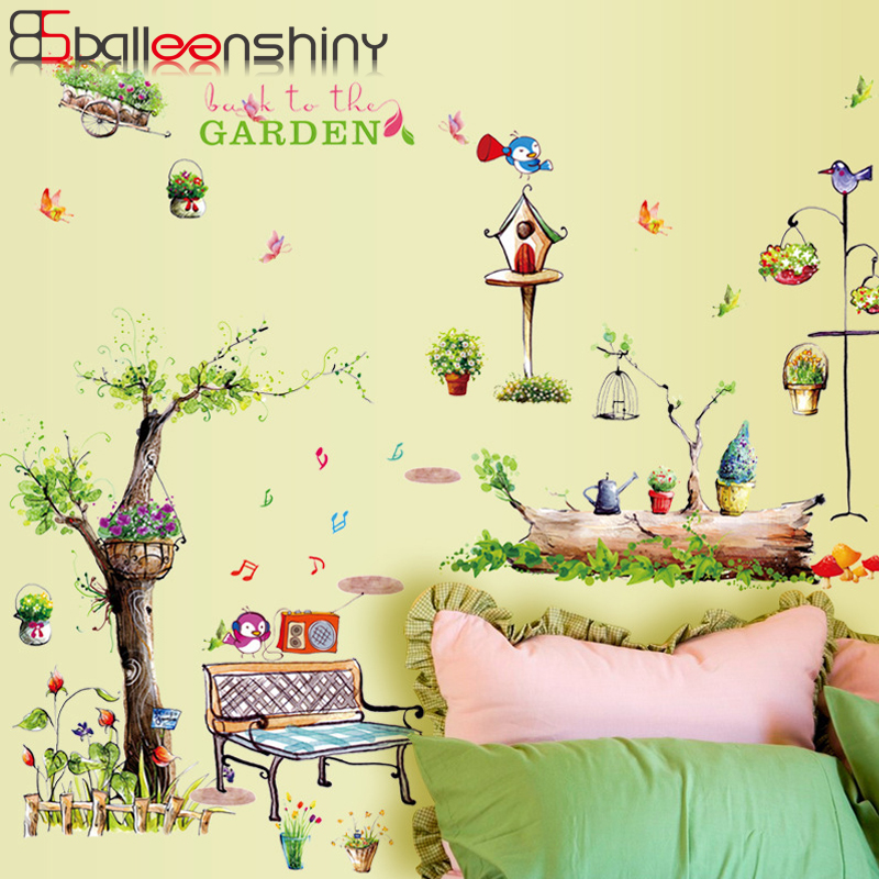 Balleenshiny PVC Green Garden Wallpaper Pastoral Style Countryside Living Room Hallway Study Art Mural Decals Store Decoration