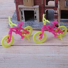 2pcs/lot New Handmade Toy Bicycles Bike Doll Accessories Fashion Mini Plastic Bike for Baby Doll Girl Xmas Gift Play House Toy(China)