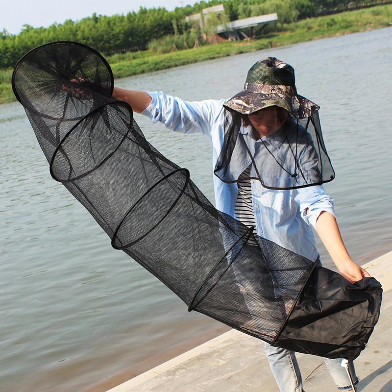 Image 4 - 1 Pcs 1.5m Fishing Net 5 Layers Nylon Wire Mesh Folding Stake Hand Tackle Fish Trap Cage Shrimp Creel Collapsible Fishing Net-in Fishing Net from Sports & Entertainment