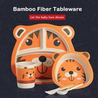 Bamboo Fiber Children's Dinner Set Compartment Household Lovely Cartoon Bowl Baby Tableware Compartmental Anti Dropping Plate