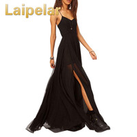 Laipelar Summer Dress Sexy Dress Woman Summer 2019 Solid Spaghetti Strap Chiffon Dress Draped Vestidos Sarafan Female Summer