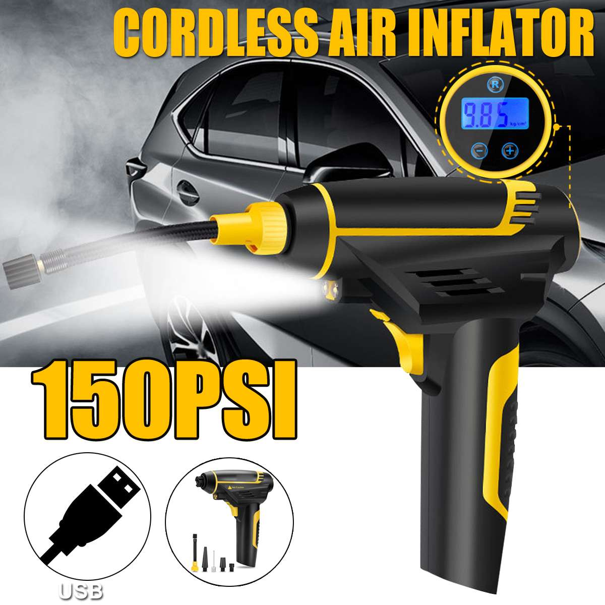 12V 150PSI Cordless Handheld Air Inflatable Pump 120W Emergency Car Tyre Inflator Pump LCD Digital with 2200mAh USB Charging