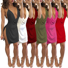 Sexy Sling low-cut halter womens clothing dress sexy ladies summer loose pack bag dresses
