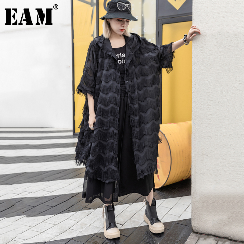 [EAM] 2019 New Spring Summer Hooded Three Quarter Sleeve Black Tassles Big Size Long Windbreaker Women   Trench   Fashion JS354